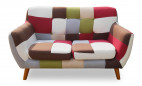Canapé patchwork 2 places tissu multicolore Ambee