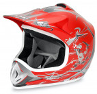 Casque enfant de cross rouge brillant Full sport
