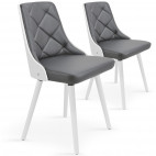 Chaise bois blanc et assise simili gris Pako - Lot de 2