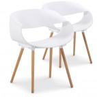 Chaise forme originale Blanc Prada - Lot de 2