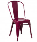 Chaise industrielle acier brillant bordeaux Kontoir