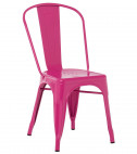 Chaise industrielle acier brillant fuchsia Kontoir