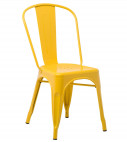 Chaise industrielle acier brillant jaune curri Kontoir