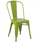 Chaise industrielle acier brillant vert flore Kontoir
