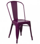 Chaise industrielle acier brillant violet pourpre Kontoir