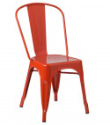 Chaise industrielle acier vieilli orange Kontoir