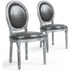 Chaise médaillon bois patiné argenté et simili gris Louis XVI - Lot de 2