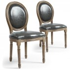 Chaise médaillon bois patiné et simili gris Louis XVI - Lot de 2