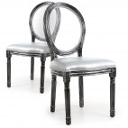 Chaise médaillon bois patiné gris et simili gris Louis XVI - Lot de 2