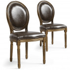 Chaise Médaillon Louis XVI Simili Marron bois patiné Or - Lot de 2