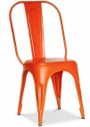Chaise métal mat orange inspirée Tolix