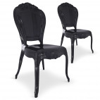 Chaise Plexi noir King - Lot de 2