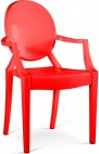 Chaise polycarbonate rouge inspiré Louis Ghost - Lot de 2
