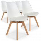 Chaise Scandinave Orna Blanc - Lot de 4