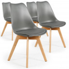 Chaise Scandinave Orna Grise - Lot de 4