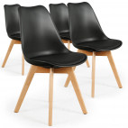 Chaise Scandinave Orna Noir - Lot de 4