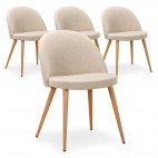 Chaise scandinave tissu beige Scary - lot de 4