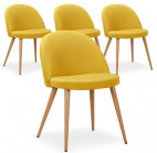 Chaise scandinave tissu jaune Scary - lot de 4