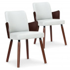 Chaises moderne bois noisette et simili blanc Filipie - Lot de 2