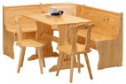 Banc d'angle table et chaises pin massif clair Vencia