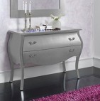Commode 2 tiroirs design argent brillant Marsus