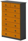 Commode 6 + 2 Pin massif Gris et Orange Aladin
