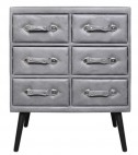 Commode 6 tiroirs simili cuir gris Patio