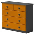 Commode 3 + 2 Pin massif Gris et Orange Aladin