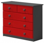 Commode 3 + 2 Pin massif Gris et Rouge Aladin