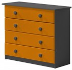 Commode Pin massif Gris et Orange 4 tiroirs Aladin