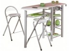 Ensemble table et 2 tabourets bois blanc Finee