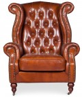 Fauteuil Chesterfield cuir marron vintage Lower