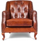 Fauteuil Chesterfield cuir brun vintage Lower