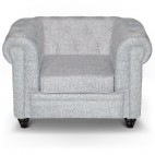 Fauteuil Chesterfield effet lin gris clair British