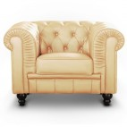 Fauteuil Chesterfield imitation cuir beige British