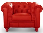 Fauteuil Chesterfield imitation cuir rouge British