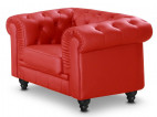 Fauteuil chesterfield simili cuir rouge Cozji