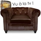 Fauteuil Chesterfield velours marron British