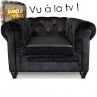 Fauteuil Chesterfield velours noir British