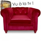 Fauteuil Chesterfield velours rouge British