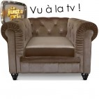 Fauteuil Chesterfield velours taupe British