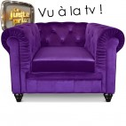 Fauteuil Chesterfield velours violet British