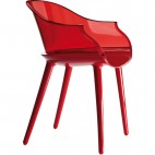 Fauteuil design transparent Rouge