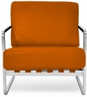 Fauteuil design simili orange inspiré Valentino Boretti