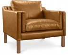 Fauteuil moderne cuir camel Lower