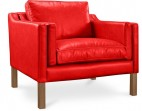 Fauteuil moderne cuir rouge Lower