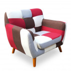 Fauteuil patchwork tissu multicolore Ambee