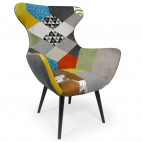 Fauteuil patchwork tissu multicolore Yuggy