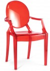 Fauteuil polycarbonate transparent rouge inspiré Louis Ghost
