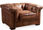 Fauteuil style Chesterfield cuir marron Wesley